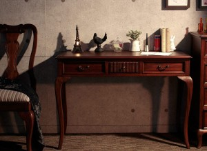 コンソールテーブル 書き物机 引出し付 花瓶台 飾り台 アンティーク調 ディスプレーテーブル フラワーテーブル 花台 ネコ脚デザイン ♪