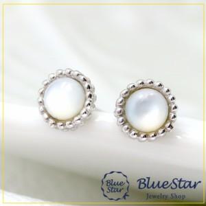 K18WG シェル スタッドピアス キラキラ宝石店 BlueStar