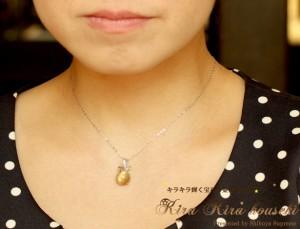 K18WG  ルチルクオーツ・ダイヤ ペンダントネックレス キラキラ宝石店