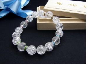 水晶鳳凰彫り12ミリ玉 爆裂水晶 (クラッククリスタル) 3000円シリーズ ブレスレット 風水 パワーストーン