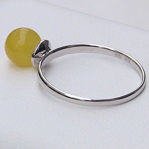 パワーストーン イエロージェイド 黄色翡翠 リング 6mm K18WG ホワイトゴールド シンプル 指輪