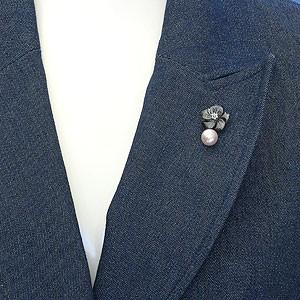 ラペルピン メンズジュエリー 真珠パール ブローチ あこや真珠 シルバー メンズ 黒蝶貝