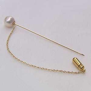 アコヤ本真珠 ピンブローチ ラペルピン ラペルピン パール ピンクホワイト系 8-8.5mm K18 丸小豆チェーン付き