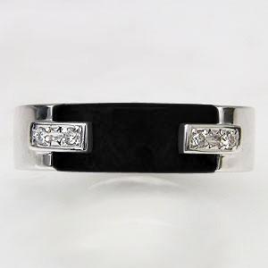 メンズオニキスリング 男性用オニキス指輪 黒メノウ オニキス ダイヤモンド K18WG メンズリング 男性用指輪 送料無料