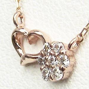 ハートモチーフ ダイヤモンド ペンダント ネックレス ピンクゴールド K18 ダイヤモンド 0.07ct