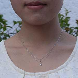 フラワー ダイヤモンド ペンダント ネックレス K18WG ホワイトゴールド