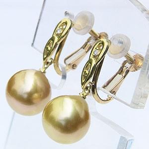 真珠 パール イヤリング ゴールデンパール 南洋白蝶真珠 ゴールド系 10mm K18 ゴールド 18金 ダイヤモンド