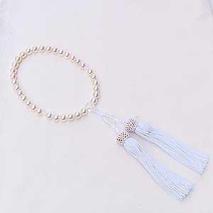 アコヤ本真珠 念珠パール数珠 7.5mm 房白 ラウンド 念珠ケース付き
