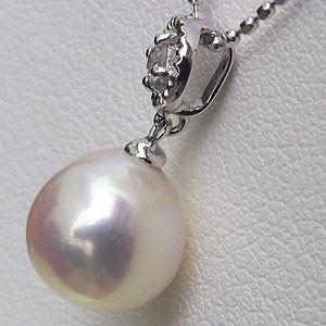 真珠 ペンダントパール あこや本真珠 ダイヤモンド ブルーピンク系 7mm K18WG ホワイトゴールド