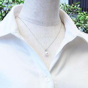 真珠は6月の誕生石ですSVシルバーあこや本真珠(アコヤ)ペンダントトップ(ヘッド)キュービックジルコニア付ペンダントネックレスです。