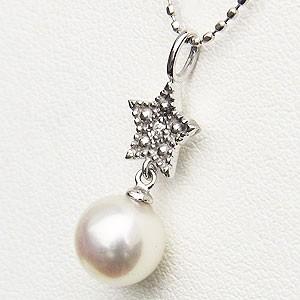 ペンダント あこや真珠パール PT900 プラチナネックレス ダイヤモンド ジュエリー 星