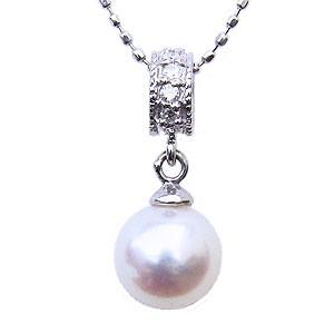 ペンダント あこや真珠パール PT900 プラチナネックレス ダイヤモンド ジュエリー