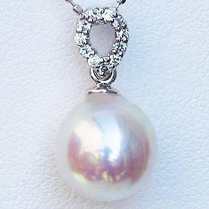 パール ペンダントヘッド 真珠 ペンダントトップ あこや本真珠 直径8.5mm アコヤ ダイヤモンド 0.06ct K18WG ホワイトゴールド