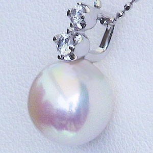 真珠 パール ペンダントトップ ペンダント あこや本真珠 直径8.5mm ダイヤモンド 0.08ct Pt900 プラチナ