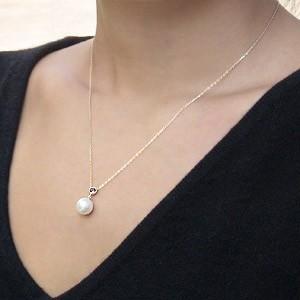 ガーネット 1月誕生石 ネックレスペンダント あこや本真珠 8.5mm パール K10ゴールドネックレス ハート 結婚式 パーティ