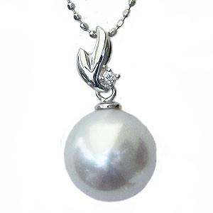 真珠 パール ペンダントトップ 南洋白蝶真珠 10mm K18WG ホワイトゴールド ダイヤモンド