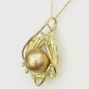 パールペンダント 南洋真珠パール ゴールデンパール K18ゴールド ペンダントトップ ダイヤモンド