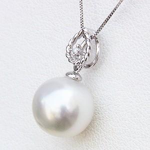 真珠 南洋白蝶真珠 10mm ホワイトパール 一粒 ダイヤモンド 0.01ct チェーン付き K18WG 真珠婚