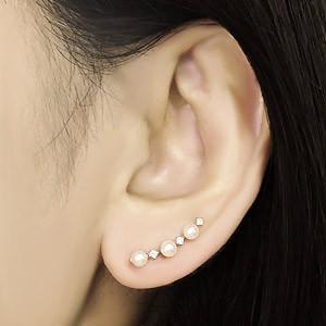 片耳ピアス イヤーカフピアス パールピアス 真珠ピアス 左耳用 あこや本真珠 ベビーパール 3.5-4mm ダイヤモンド 0.04ct ホワイトG