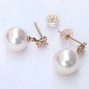 パールピアス 真珠ピアス あこや本真珠 K18PGピアス あこや本真珠 8mm ダイヤモンド 2石 0.02ct ピアス送料無料