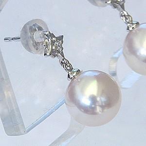 真珠ピアス パールピアス あこや本真珠 8mm プラチナピアス 真珠 パール ピアスダイヤモンド 0.02ct ピアス 6月誕生石 送料無料