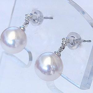 真珠真珠 ピアス パール ピアス あこや本真珠 K18WGピアス 真珠 8mm ダイヤモンドピアス 送料無料ピアス