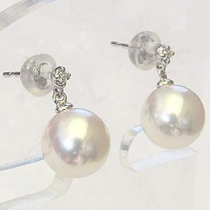 真珠パール 真珠ピアス あこや本真珠 8mm PT900 プラチナ ピアス ダイヤモンド 0.02ct ピアス 送料無料
