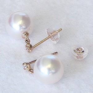 真珠ピアス パールピアス 真珠 ピアス パール ピアス あこや本真珠 8mm ピンクゴールドピアス 真珠 ダイヤモンド 2石 0.02ct ピアス