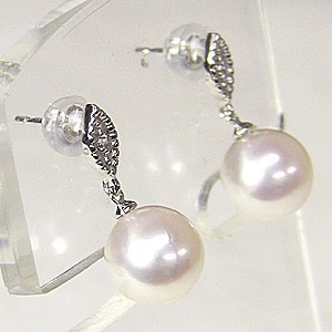 真珠 パール 6月誕生石 ピアス あこや本真珠 PT900 プラチナ 真珠の径8mm ダイヤモンド 2石 0.02ct ピアス