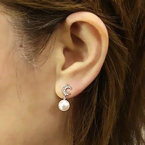 真珠 パール 6月誕生石 ピアス あこや本真珠 PT900 プラチナ 真珠の径8mm ピンクホワイト系 ダイヤモンド 6石 0.04ct 月 ピアス