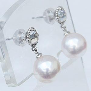 真珠 パール ピアス あこや本真珠 PT900 プラチナ 真珠の径8mm ピンクホワイト系 ブルームーンストーン ピアス