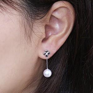 ピアス パール あこや真珠パール K18ゴールド ブラックダイヤモンド 片耳用ピアス