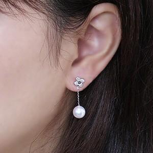 ピアス パール あこや真珠パール PT900 プラチナ ダイヤモンド 片耳用ピアス