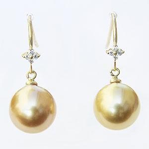 真珠パール 6月誕生石 パール ピアス 真珠 南洋白蝶真珠 ゴールド系 直径10mm ダイヤモンド 0.06ct K18 ゴールド 18金