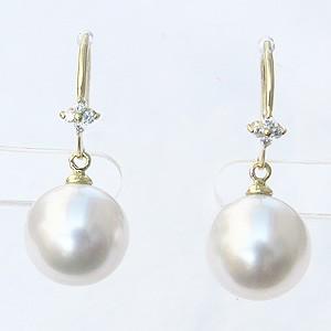 真珠パール 6月誕生石 ピアス 南洋白蝶真珠 ホワイト色 直径10mm ダイヤモンド K18 18金 ゴールド フック式 揺れるブラタイプ