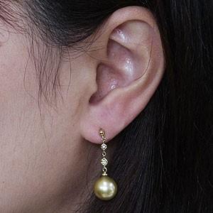 真珠パール 6月誕生石 ピアス ゴールデンパール 南洋白蝶真珠 ゴールド系 直径10mm ダイヤモンド 0.06ct K18 ゴールド 18金