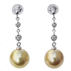 真珠パール 6月誕生石 パール ピアス 真珠 南洋白蝶真珠 ゴールド系 直径10mm ダイヤモンド 0.06ct K18WG ホワイトゴールド 18金