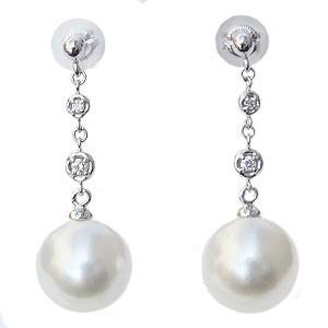 真珠パール 6月誕生石 ピアス 南洋白蝶真珠 ホワイトピンク系 直径10mm ダイヤモンド 0.06ct K18WG ホワイトゴールド 18金