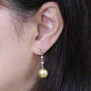 真珠パール 6月誕生石 ピアス ゴールデンパール 南洋白蝶真珠 ゴールド系 直径11mm ダイヤモンド 0.06ct K18WG ホワイトゴールド 18金