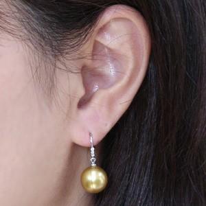 真珠パール 6月誕生石 ピアス 真珠 ゴールデンパール 南洋白蝶真珠 ゴールド系 直径11mm ダイヤモンド 0.06ct K18WG ホワイトゴールド