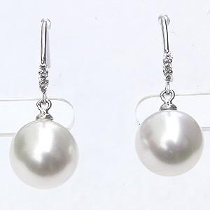 真珠パール ピアス 南洋白蝶真珠 ホワイト色 直径10mm ダイヤモンド K18WG真珠 フック式 揺れるブラタイプ ピアス