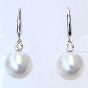 真珠パール ピアス 南洋白蝶真珠 PT900 プラチナ 真珠の直径10mm ホワイトピンク色 ダイヤモンド 2石 0.10ct フック式 揺れるピアス