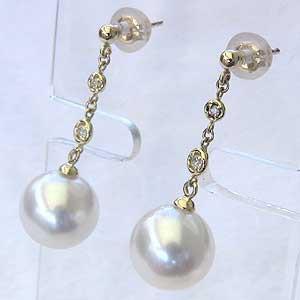 真珠パール 6月誕生石 ピアス 南洋白蝶真珠 直径10mm ホワイトピンク系 ダイヤモンド 4石 合計0.06ct K18 ゴールド チェーンピアス