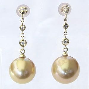 真珠パール 6月誕生石 ピアス 真珠 ゴールデンパール 南洋白蝶真珠 ゴールド系 直径11mm ダイヤモンド 0.06ct K18 ゴールド 18金