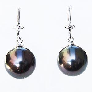 真珠パール 6月誕生石 ピアス ブラックパール タヒチ黒蝶真珠 グリーン系 10mm ダイヤモンド 0.06ct K18WG ホワイトゴールド