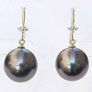 真珠パール 6月誕生石 ピアス タヒチ黒蝶真珠 ブラックパール 直径11mm ダイヤモンド 8石 合計0.06ct K18 ゴールド フックピアス