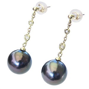 真珠パール 6月誕生石 ピアス 真珠 ブラックパール タヒチ黒蝶真珠 グリーン系 10mm ダイヤモンド 0.06ct K18 ゴールド 18金