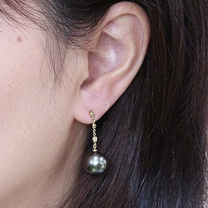 真珠パール 6月誕生石 ピアス ブラックパール タヒチ黒蝶真珠 グリーン系 11mm ダイヤモンド 0.06ct K18 ゴールド 18金