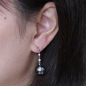 真珠パール ピアス 真珠 ブラックパール タヒチ黒蝶真珠 グリーン系 直径11mm ダイヤモンド 0.06ct K18WG