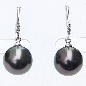 真珠パール 6月誕生石 ピアス ブラックパール タヒチ黒蝶真珠 グリーン系 直径10mm ダイヤモンド 0.06ct K18WG ホワイトゴールド